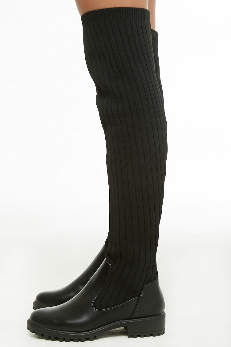 0af55727d54 Forever 21 Over-the-knee Ribbed Knit Boots in Black - Lyst