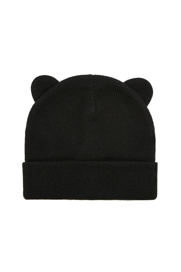 2e367aba Forever 21 Animal Ear Knit Beanie in Black - Lyst