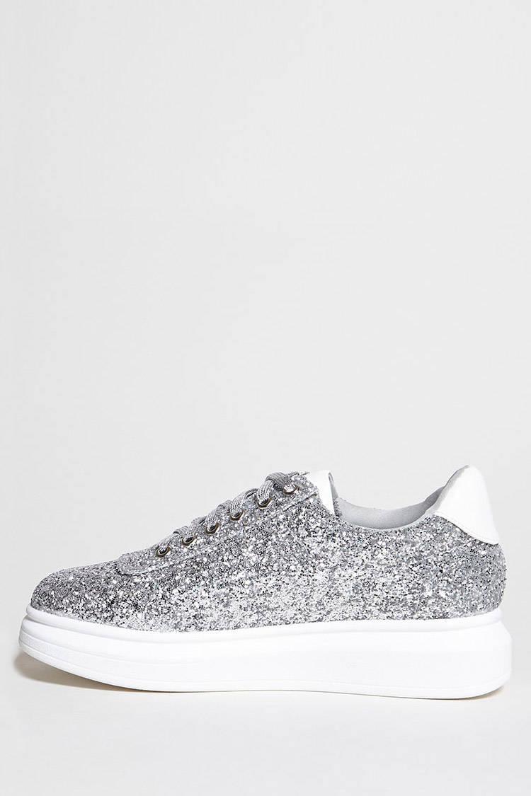 9121b0251793 Lyst - Forever 21 Sequin Platform Sneakers in Metallic