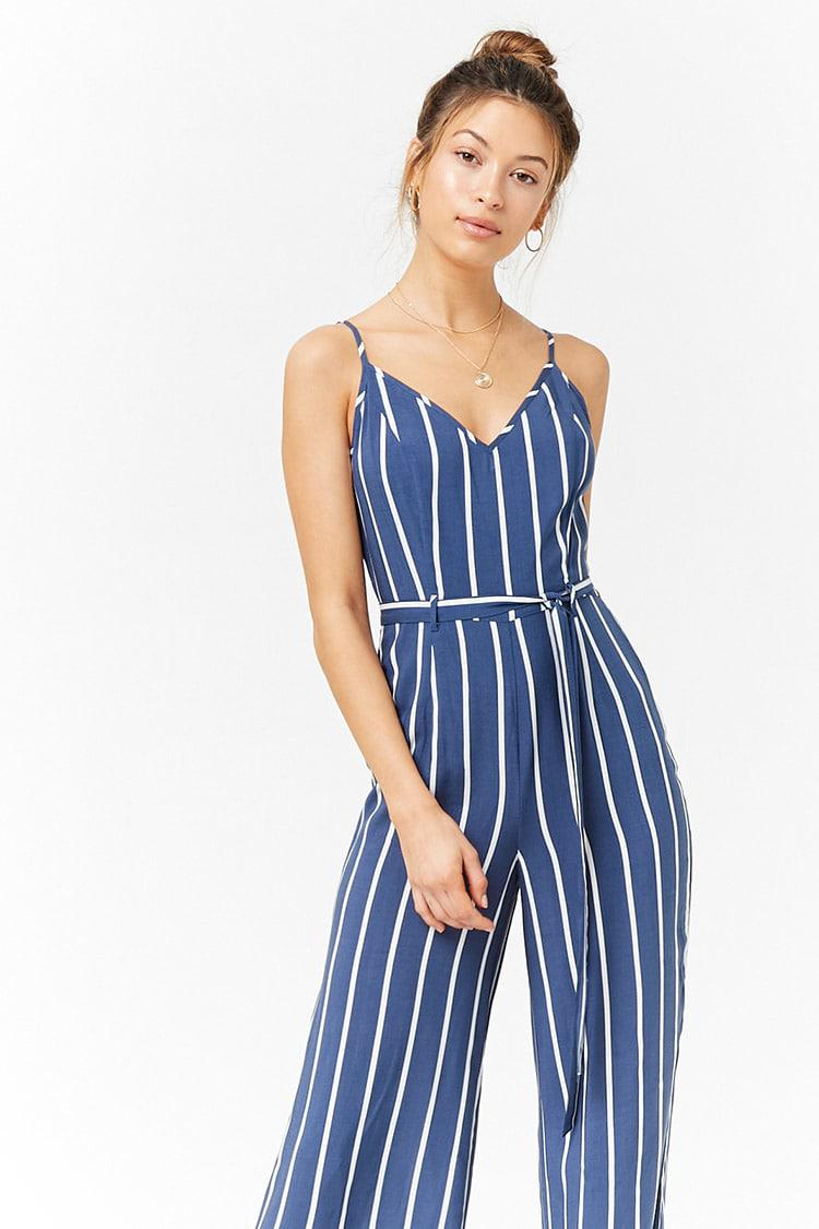 8e588842f13 Lyst - Forever 21 Striped Cami Jumpsuit in Blue