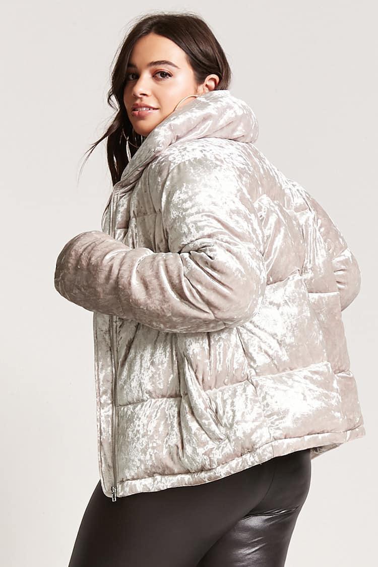 d041c61e426 Forever 21 Plus Size Velvet Puffer Jacket in Gray - Lyst
