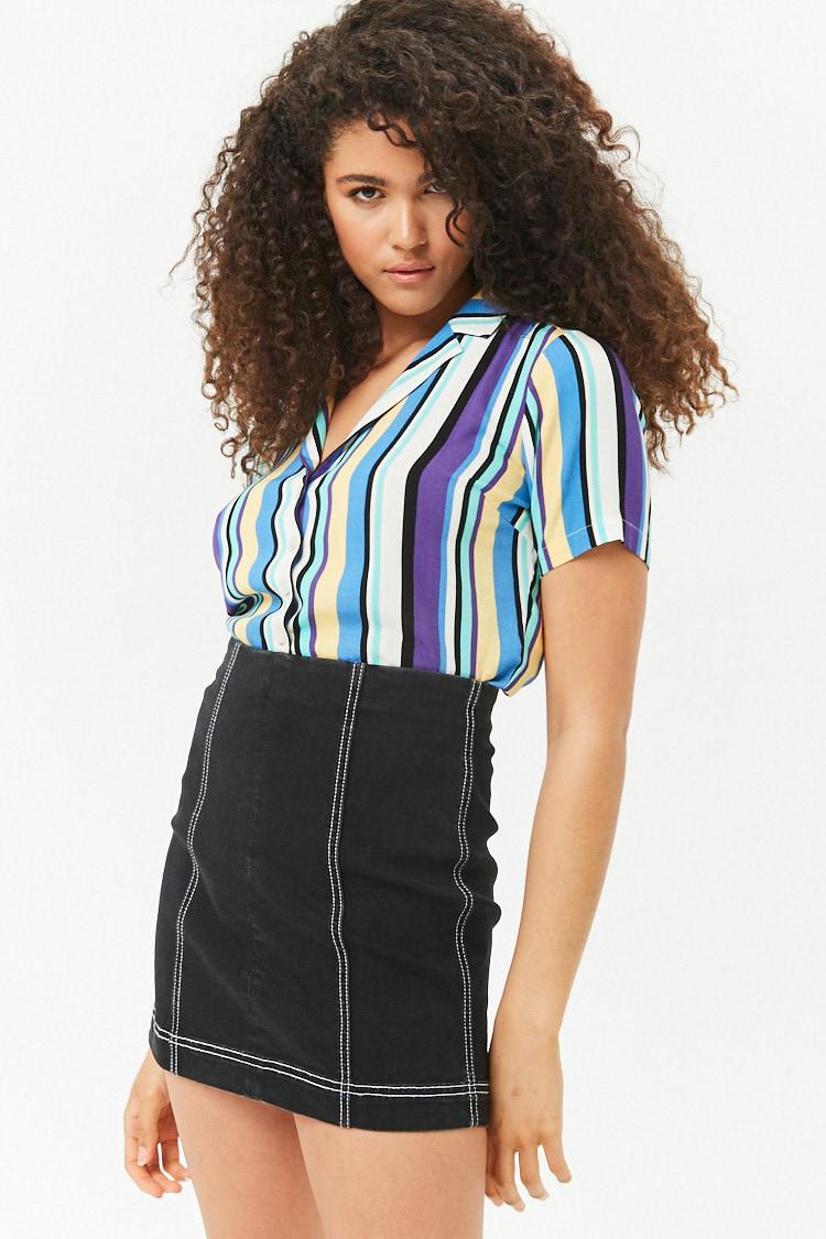 dba949b98d Forever 21 Contrast Top-stitch Denim Mini Skirt in Black - Lyst