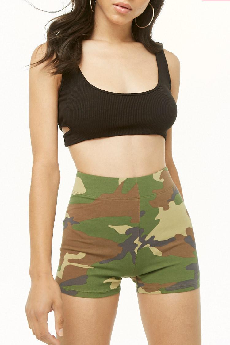 179783f1fd1 Lyst - Forever 21 Camo Print Biker Shorts in Brown