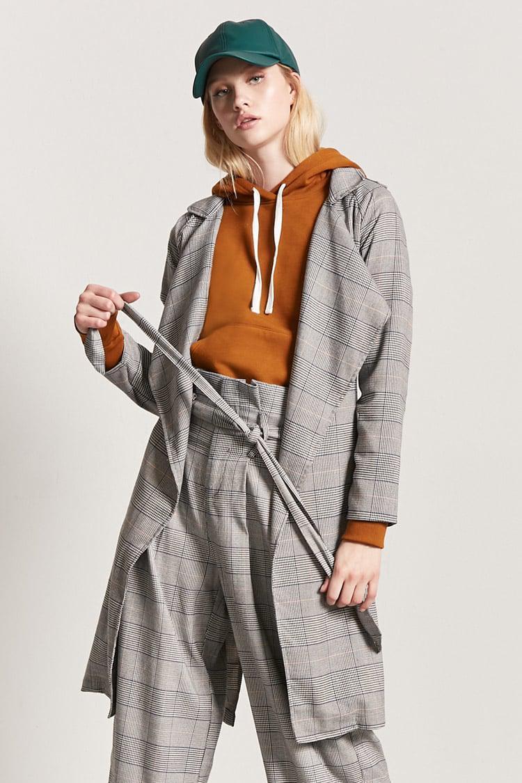 90024e6ec49 Lyst - Forever 21 Glen Check Trench Coat in Gray