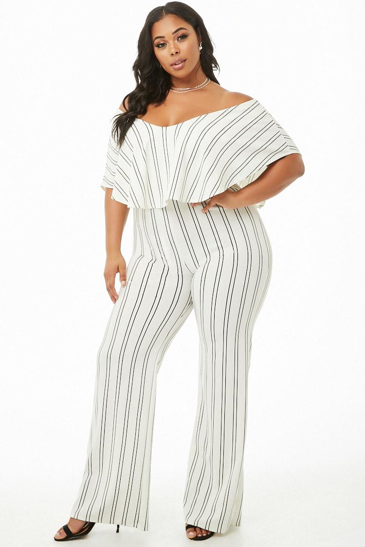 97fc99efd66e Forever 21 Women s Plus Size Striped Flounce Jumpsuit in White - Lyst