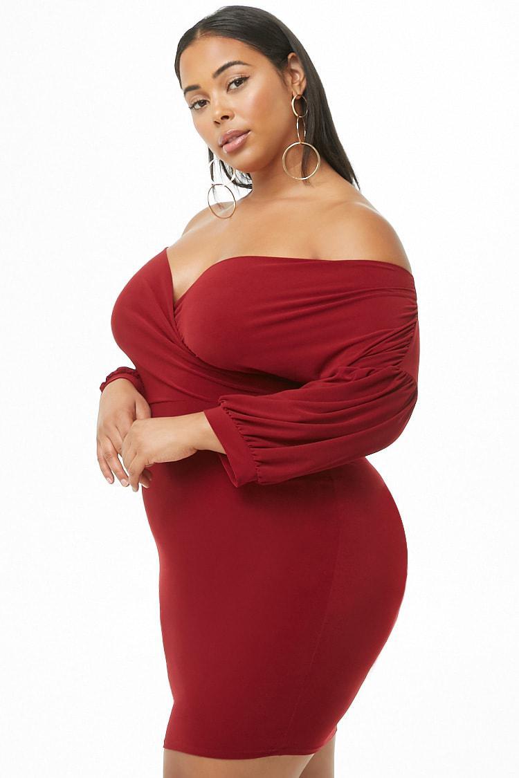 c783437649b7 Forever 21 - Red Women's Plus Size Off-the-shoulder Mini Dress - Lyst. View  fullscreen