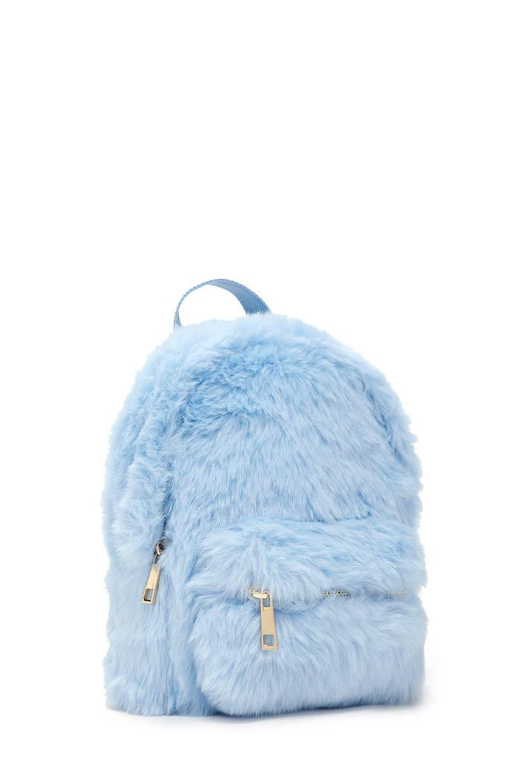 1aa9b6154 Forever 21 Faux Fur Mini Backpack in Blue - Lyst