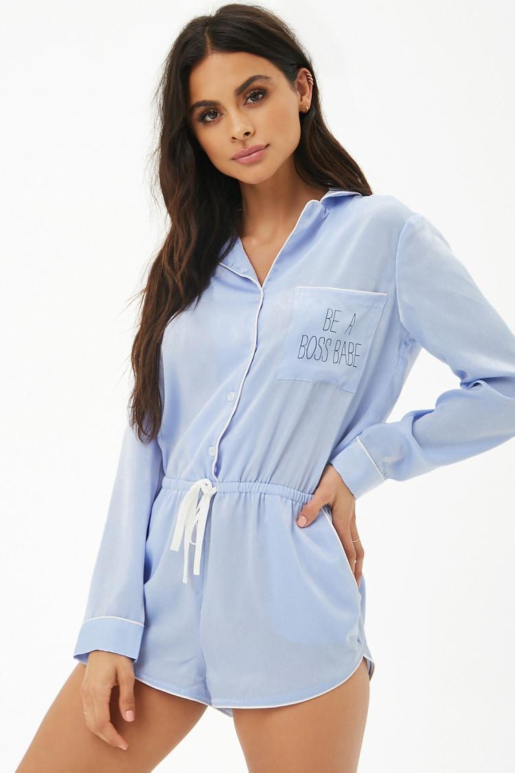 174cd06055e Lyst - Forever 21 Boss Babe Satin Pajama Romper in Blue
