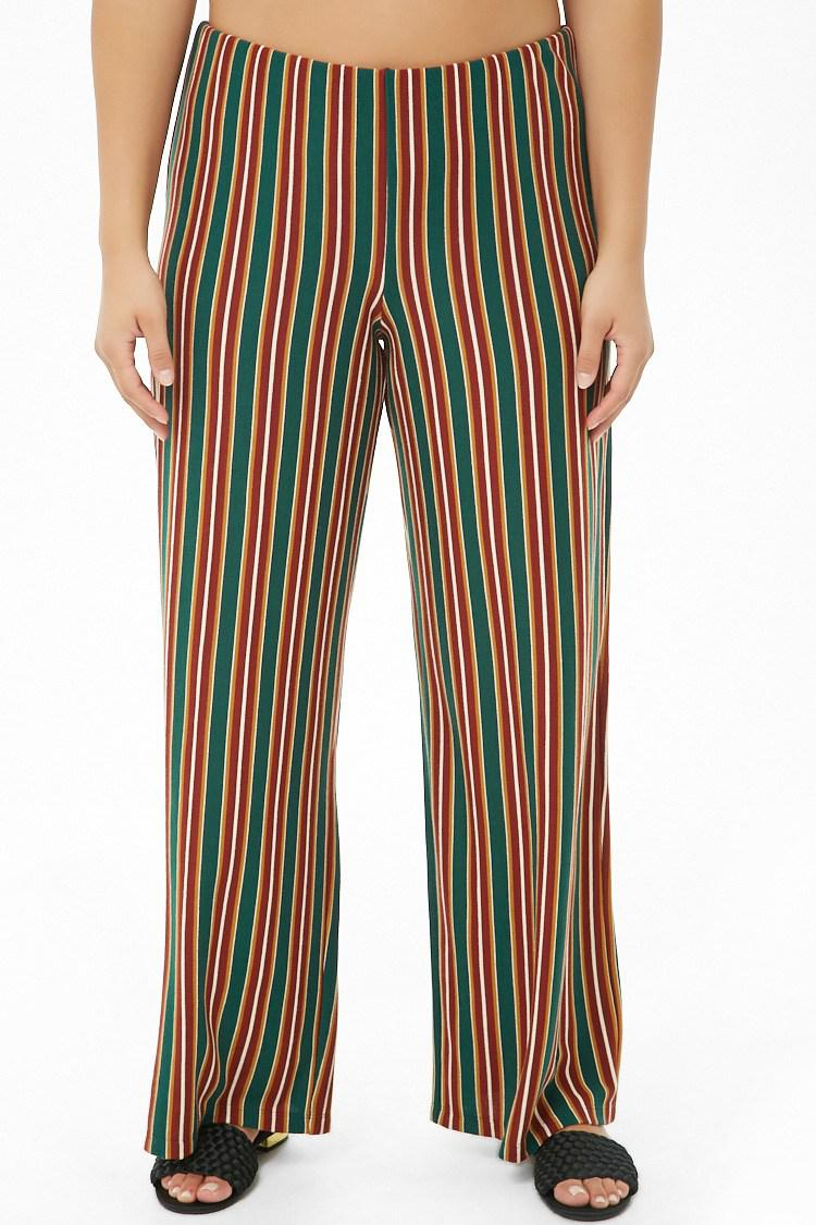 b6496ffdcb5 Forever 21 - Green Women s Plus Size Multicolor Striped Palazzo Trousers -  Lyst. View fullscreen