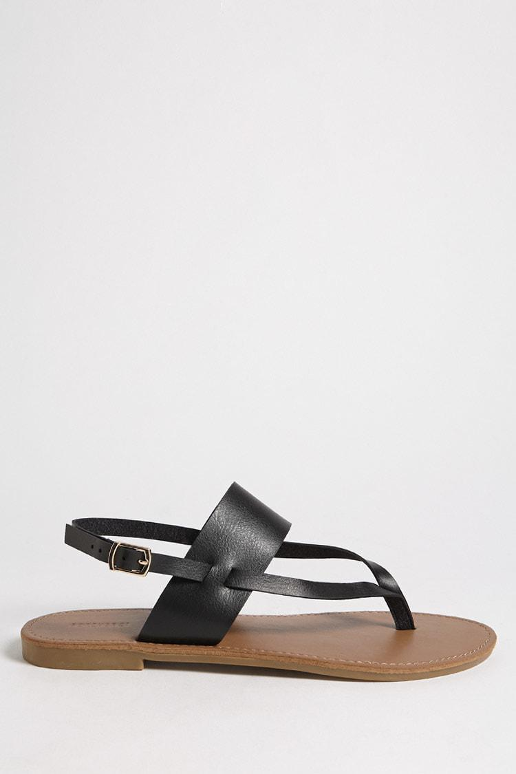 be16fd26bf11 Lyst - Forever 21 Faux Leather Thong Sandals in Black