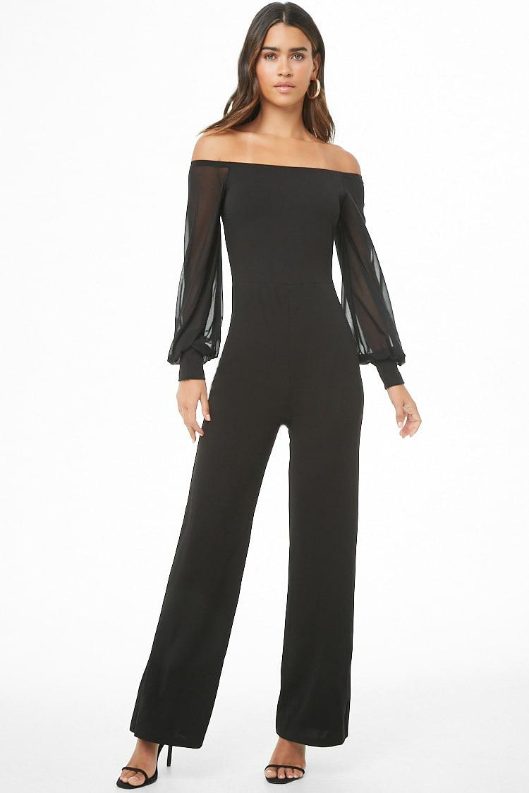 cf8f14cb516a Lyst - Forever 21 Sheer-sleeve Off-the-shoulder Jumpsuit in Black