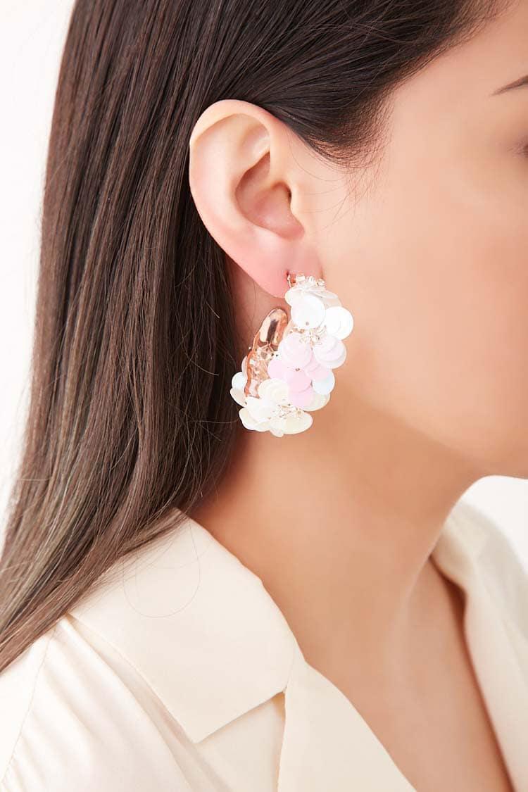cb68535e38bbd Lyst - Forever 21 Iridescent Sequin Hoop Earrings