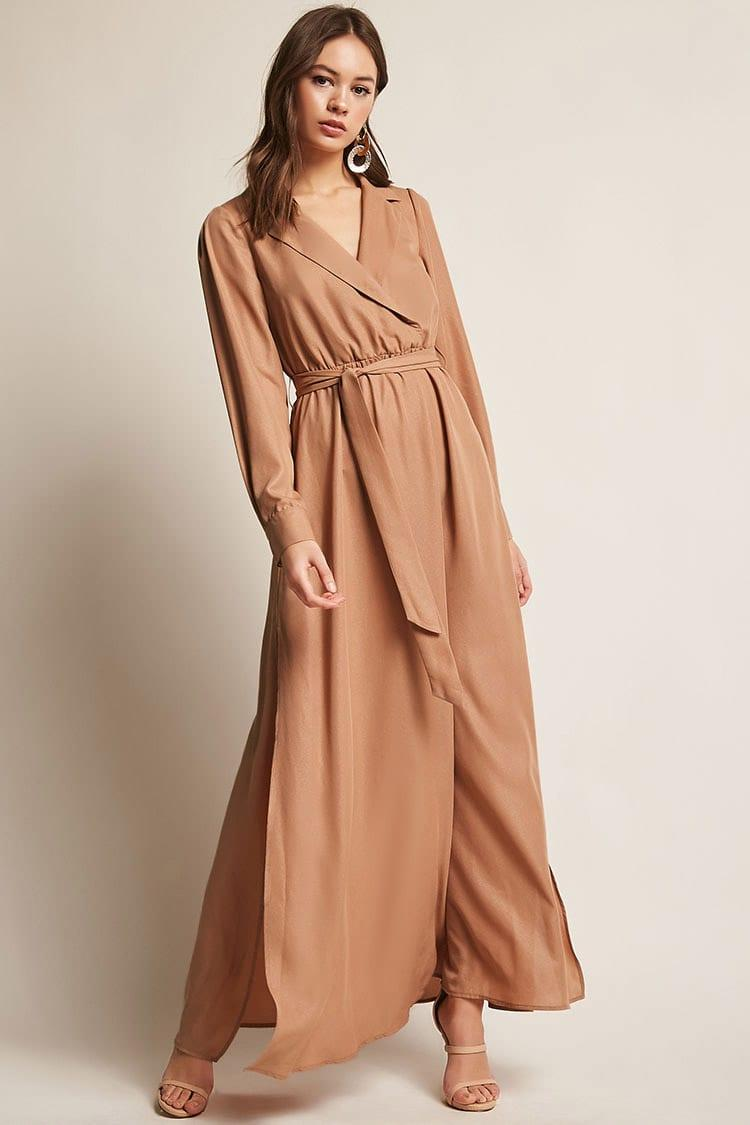 17e7634af50 Forever 21 Belted Surplice Maxi Dress in Brown - Lyst