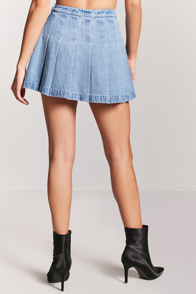 3f342ac2f8 Forever 21 Pleated Denim Mini Skirt in Blue - Lyst