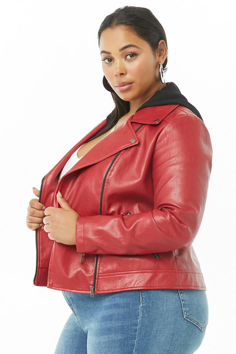 5ecddecb21 Forever 21 Women s Plus Size Faux Leather Combo Moto Jacket in Red ...