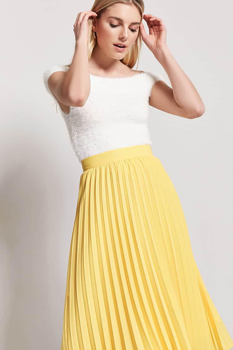 476340e69f Forever 21 Accordion Pleated Skirt in Yellow - Lyst