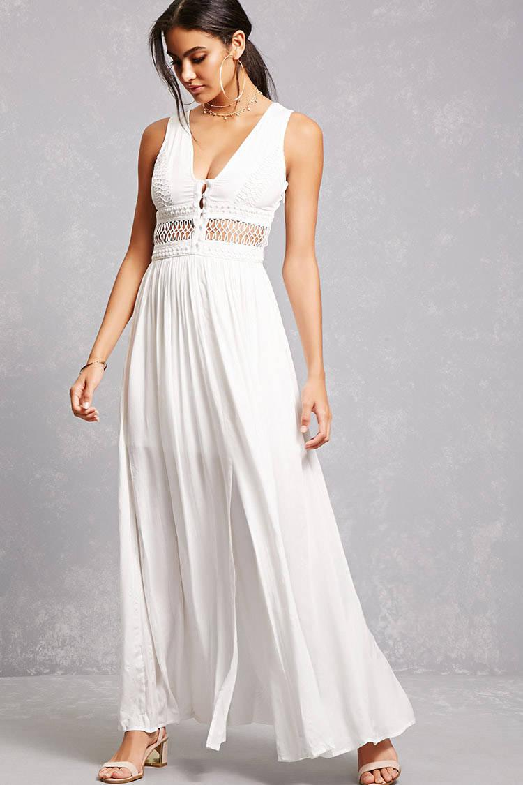 c45f697c6bc2 Lyst - Forever 21 Soieblu Open-knit Maxi Dress in White