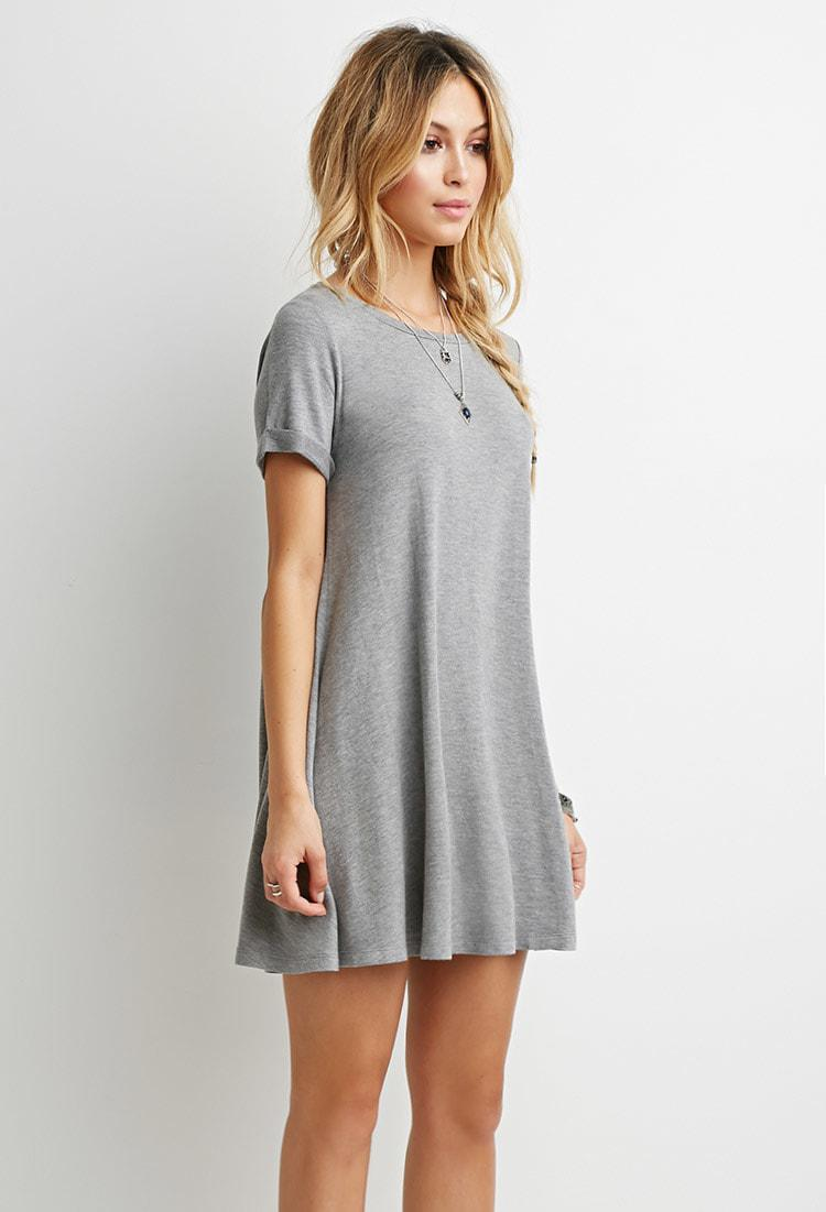 6f5da6435c7d Forever 21 Heathered T-shirt Dress in Gray - Lyst