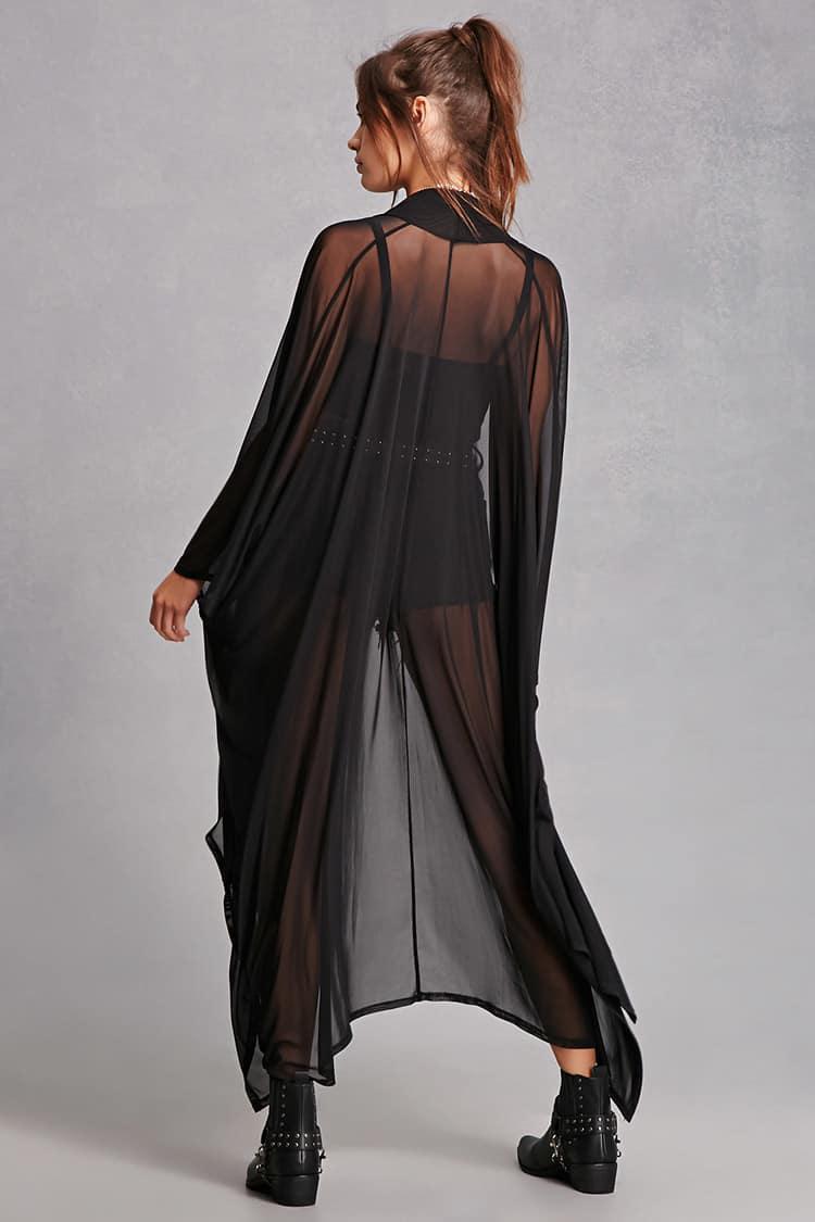 Forever 21 Sheer Longline Cardigan in Black | Lyst