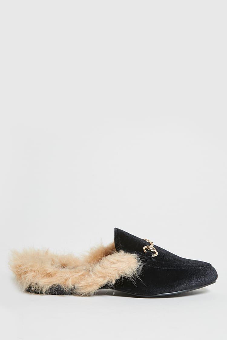 e86963ab88c0 Forever 21 Faux Fur Trim Loafer Slides in Black - Lyst