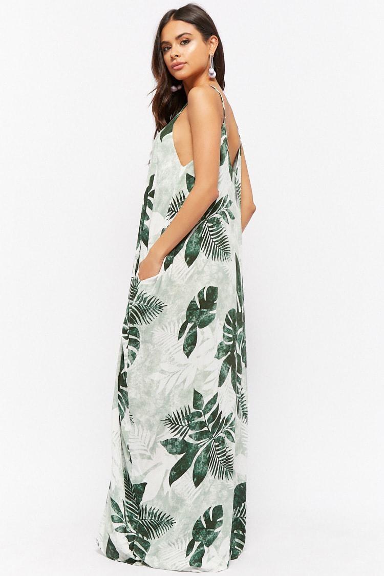 c9bfcb6c37a Forever 21 Crinkled Palm Leaf Print Maxi Dress in Green - Lyst