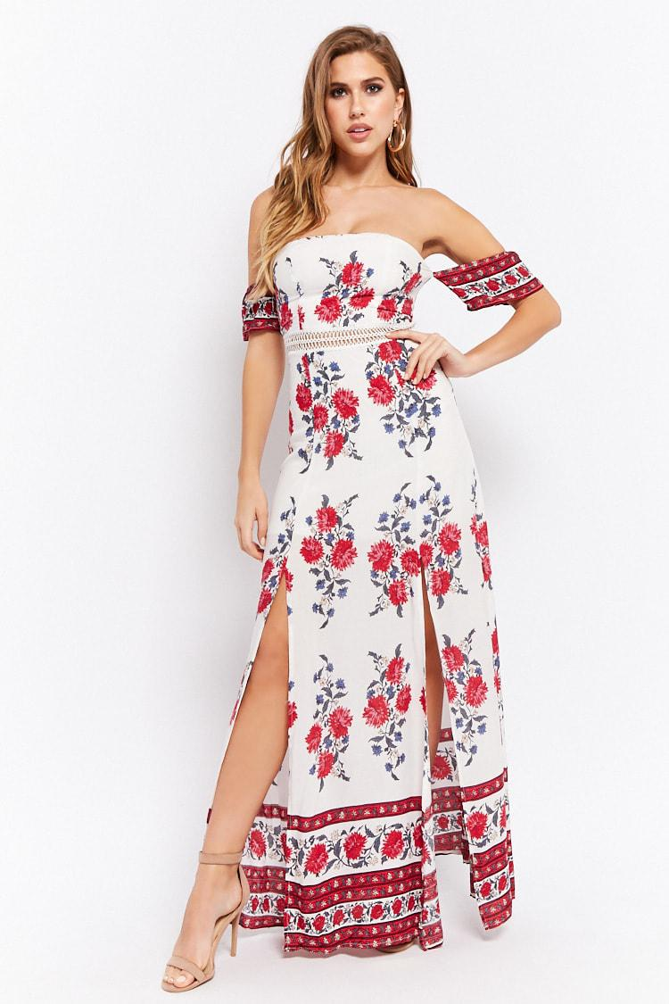 531126a0ae3 Forever 21 Floral Off-the-shoulder Maxi Dress in Red - Lyst