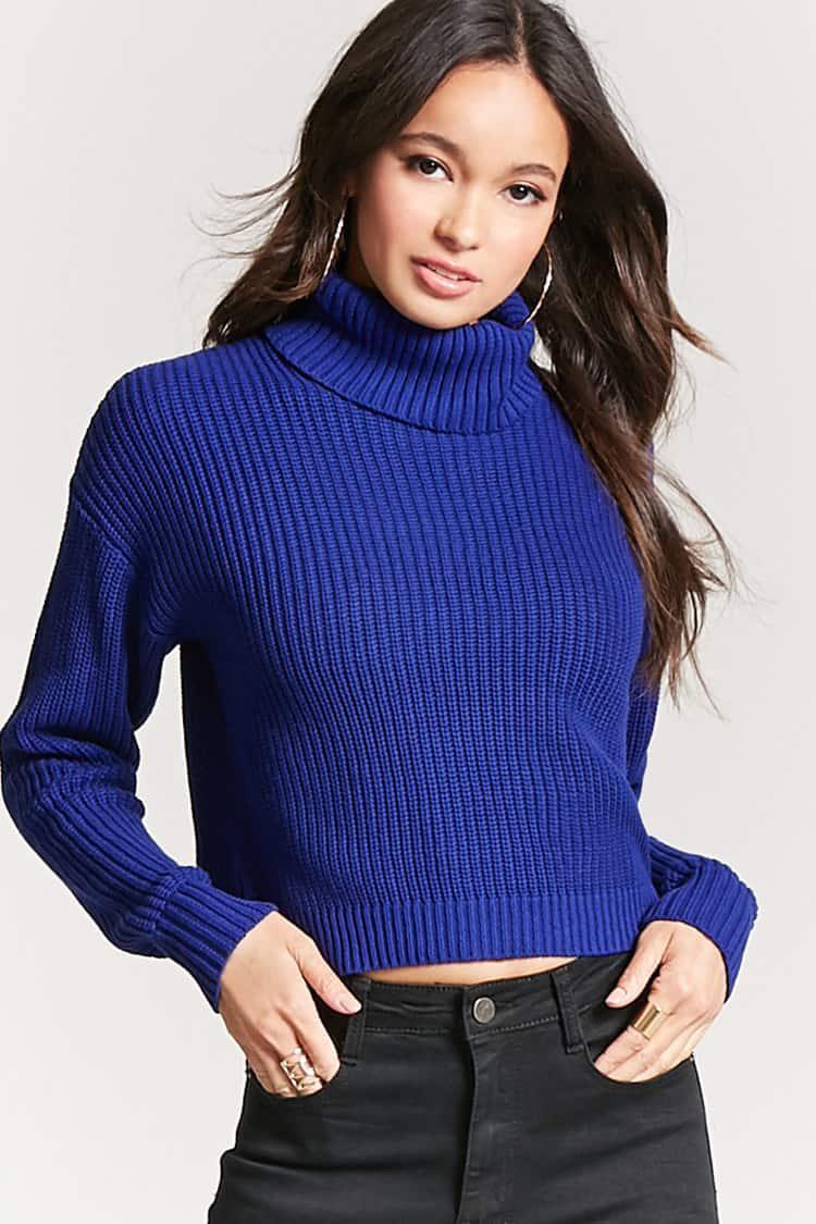 Forever 21 Oversized Turtleneck Sweater in Blue | Lyst