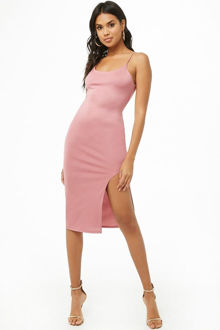 9bed1a79cc2 Lyst - Forever 21 Sheeny Bodycon Cami Dress in Pink