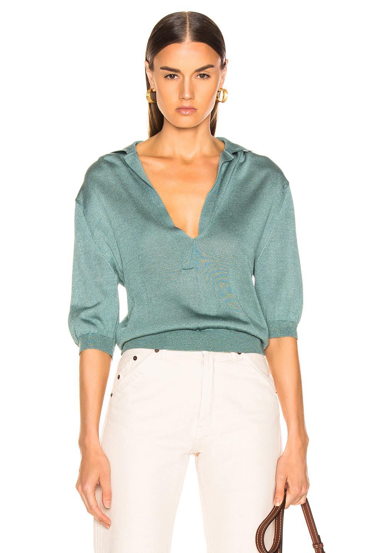 7209dba2706 Lyst - Tibi Short Sleeve Polo Pullover in Blue