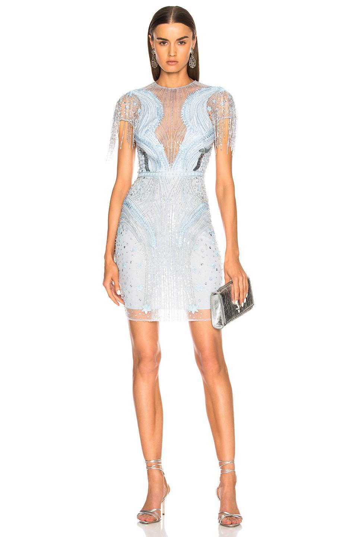 Lyst - Zuhair Murad Embellished Short Sleeve Mini Dress in Blue