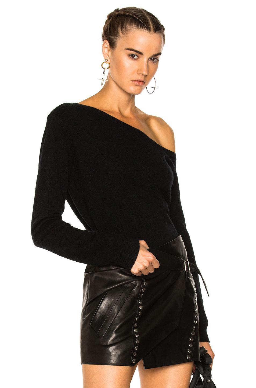 rta claudine one shoulder sweater in black lyst. Black Bedroom Furniture Sets. Home Design Ideas