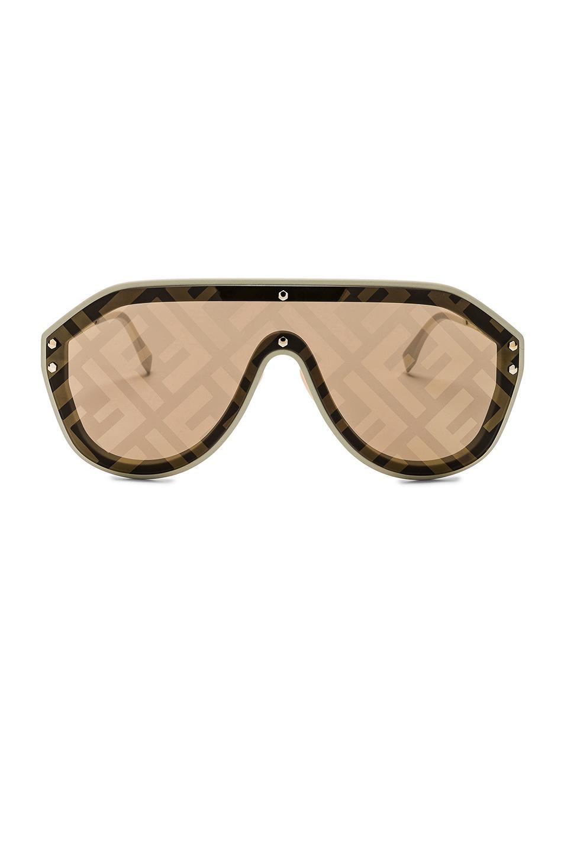 9e47b2cc9c9 Lyst - Fendi Logo Face Sunglasses in Natural