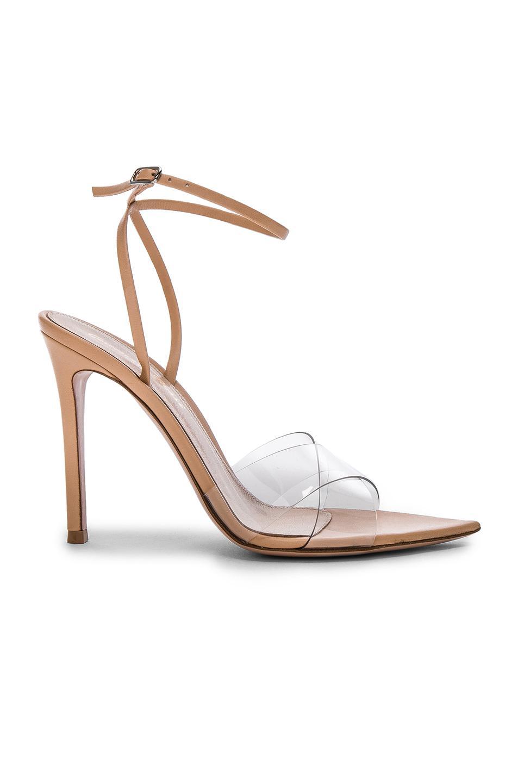 bbf9a192c33 Lyst - Gianvito Rossi Leather   Plexi Stark Ankle Strap Sandals in White