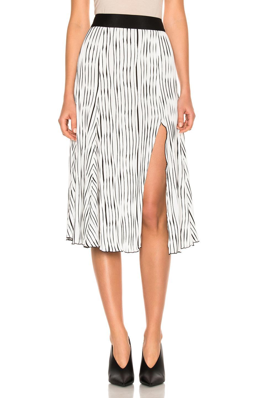3e170e429b Lyst - Prabal Gurung Wavy Rib Jersey Pleated Skirt in White