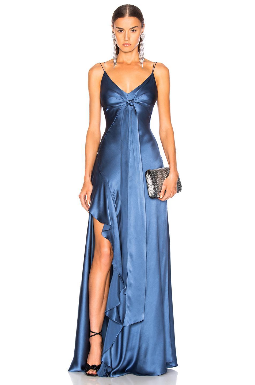 39584ae5cc7 Nicholas Silk Charmeuse Tie Front Dress in Blue - Lyst