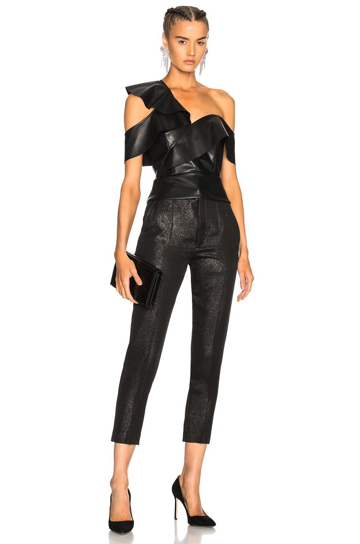 7685c36d8de8d3 Michelle Mason Faux Leather Ruffle Top in Black - Lyst