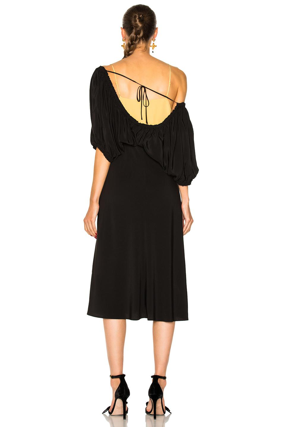 Sophia Off-the-shoulder Silk Dress - Black Tibi Clearance Comfortable xugFYN