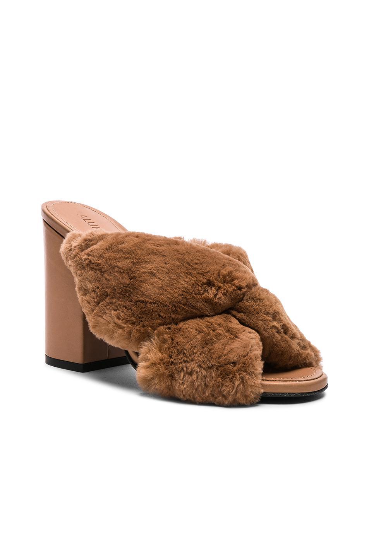 d788c9836c6 Lyst - Alumnae Rabbit Fur X Slide Block Heels in Brown