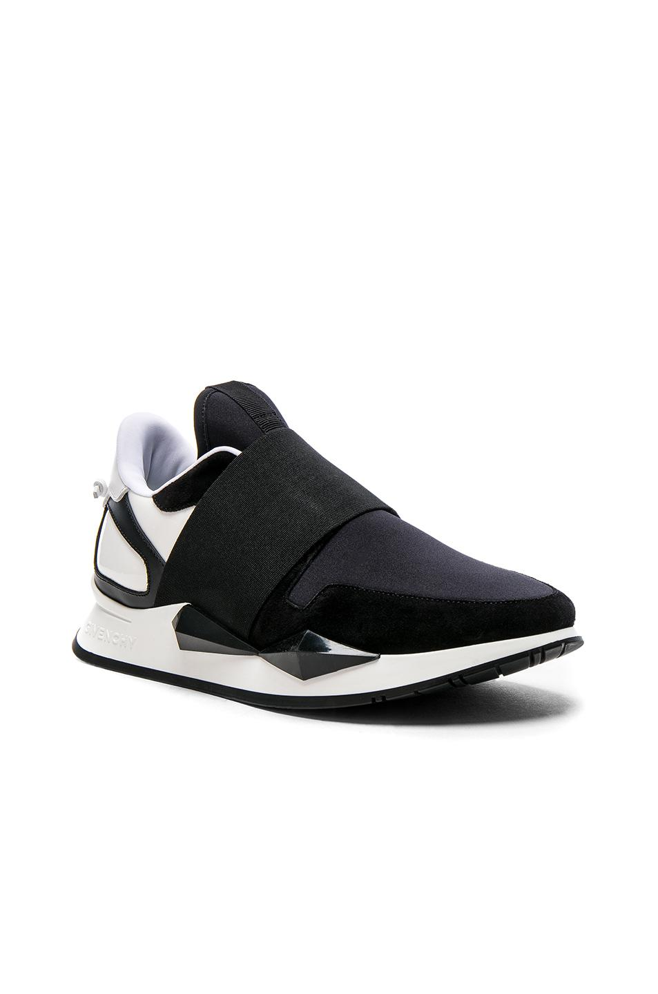 Givenchy Suede & Patent Leather Elastic Strap Sneakers in .