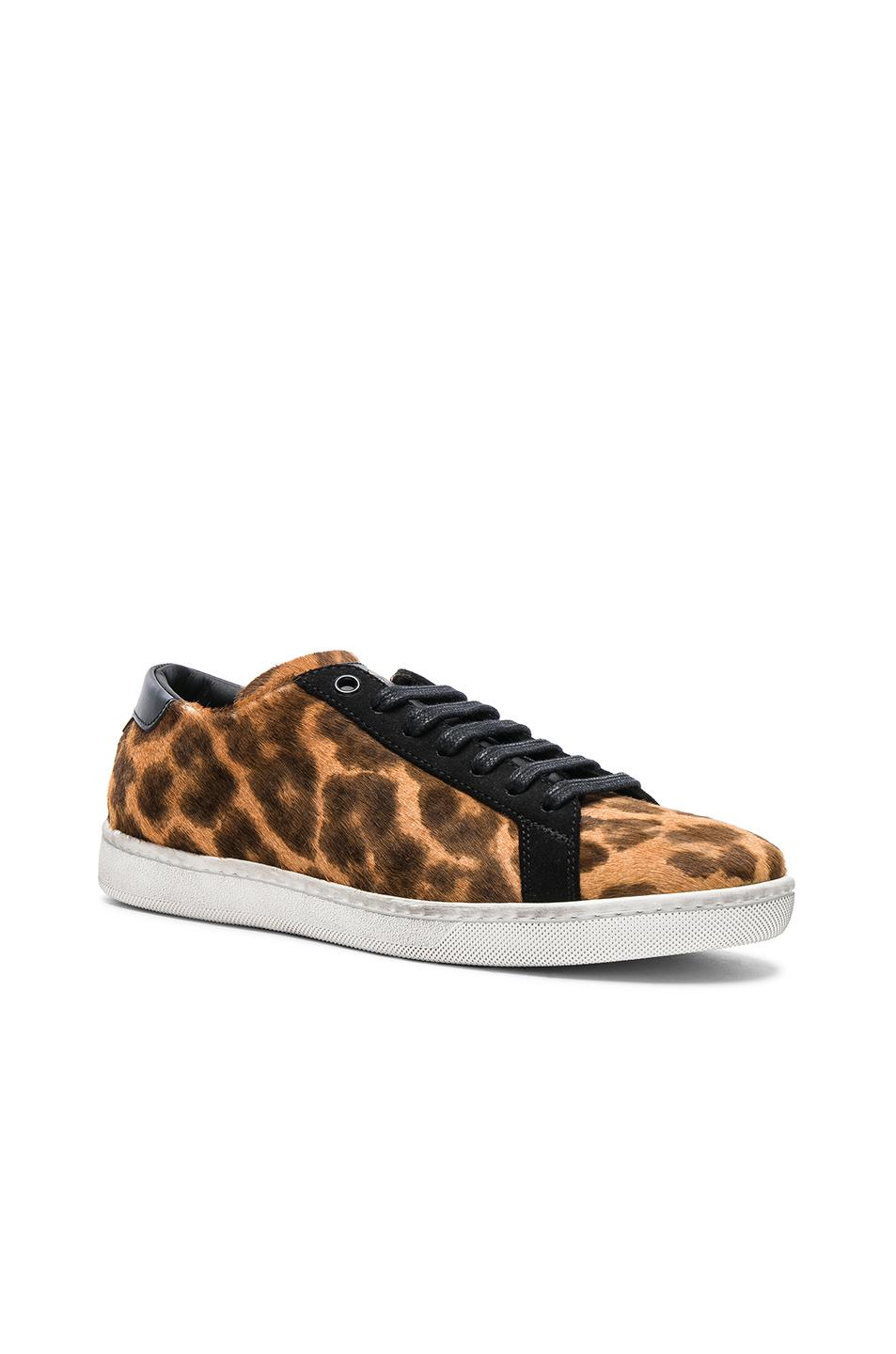 Saint Laurent Pony Hair & Suede Court Classic Sneakers in ,Animal Print.