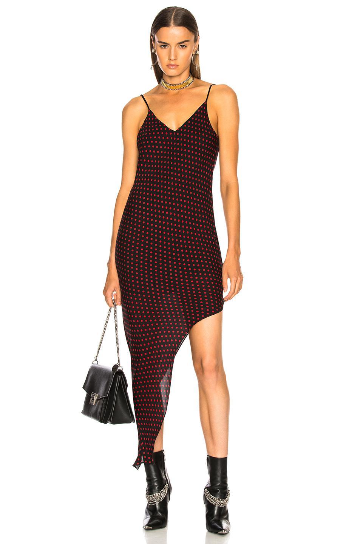 882feeda1cadb Lyst - Amiri Asymmetrical Dot Silk Dress in Red