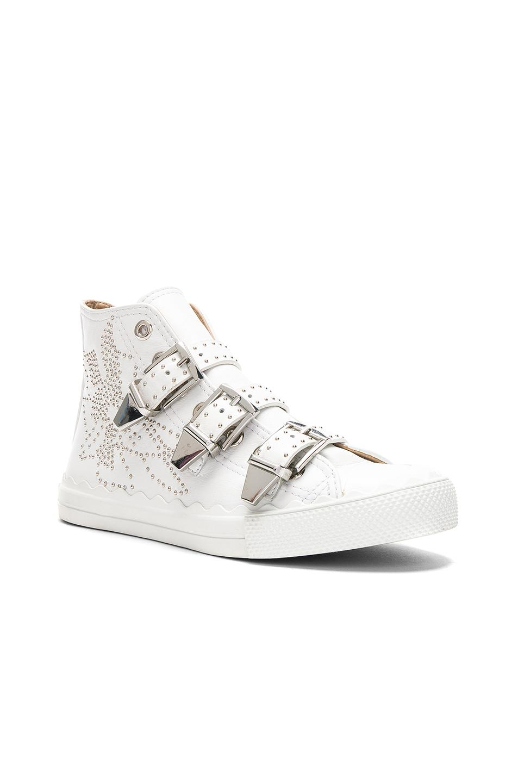 Chloé Kyle Semi-Shiny Calf Leather Buckle Sneakers in . YXqGtAU