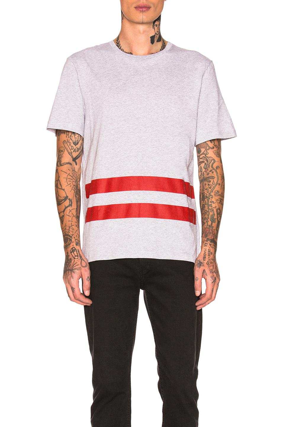 Re-Edition Red Stripe T-Shirt in Gray Helmut Lang Free Shipping Best Seller orNej