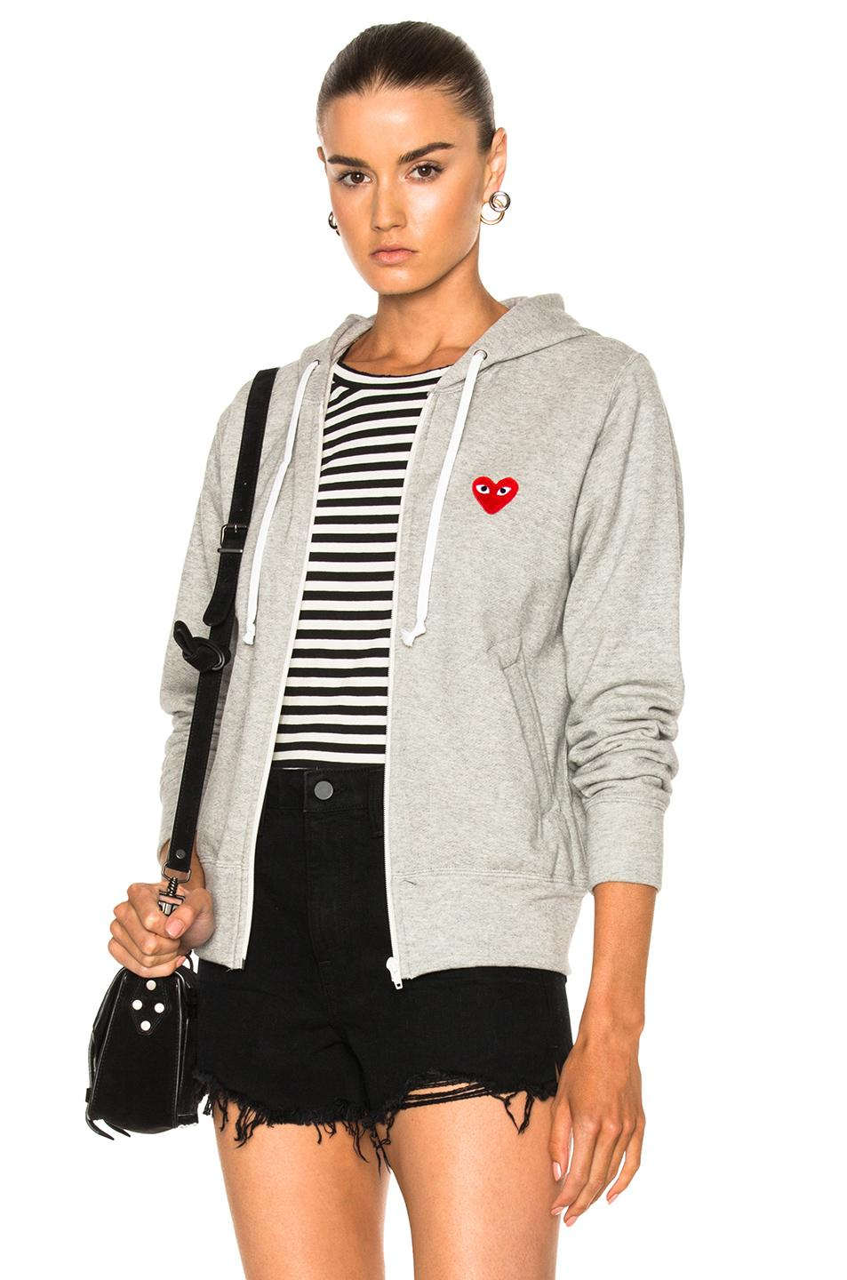 play comme des gar ons zip up cotton hoodie with red. Black Bedroom Furniture Sets. Home Design Ideas