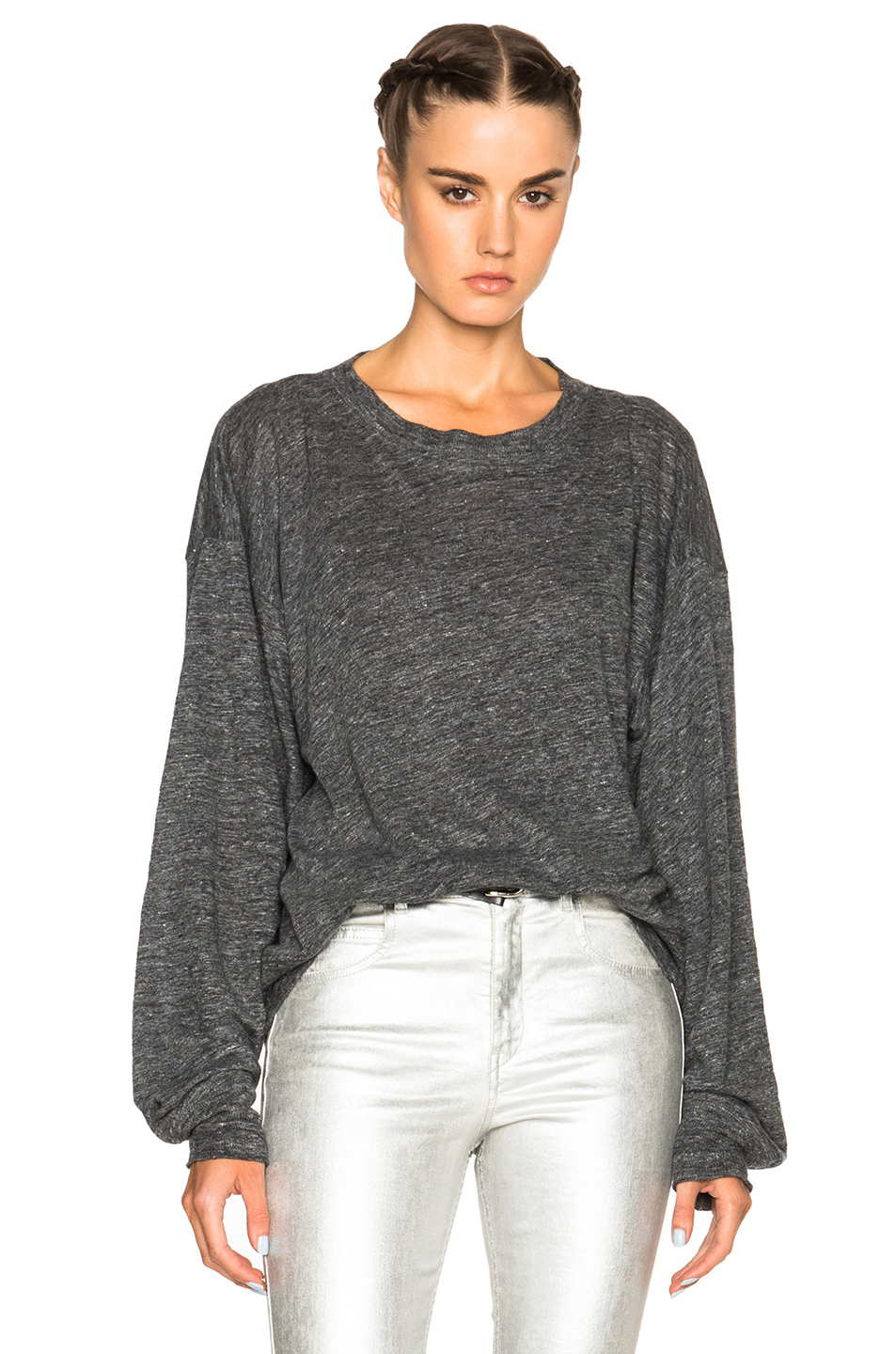 Toile isabel marant klow linen tee in gray lyst for Isabel marant t shirt sale