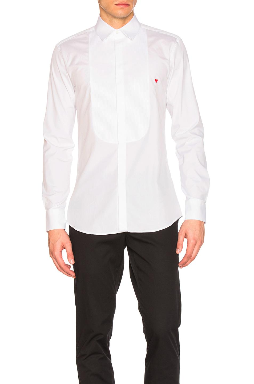 Neil barrett icon graphics tuxedo shirt in white for men for Neil barrett tuxedo shirt