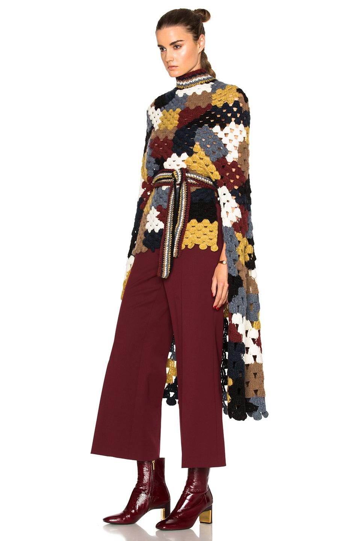 Lyst Rosetta Getty Patchwork Crochet Poncho In Multi