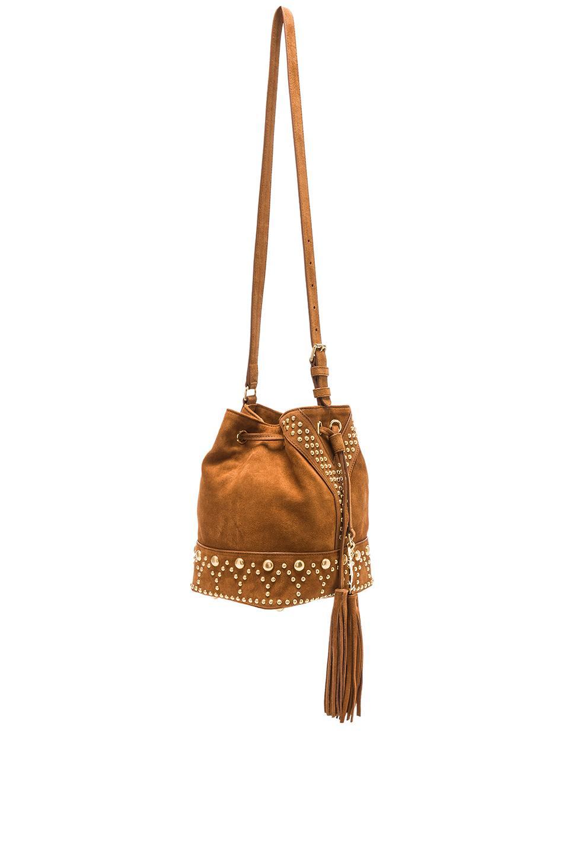 d5dcbde9e7cd Lyst - Saint Laurent Small Y Studs Suede Bucket Bag in Brown