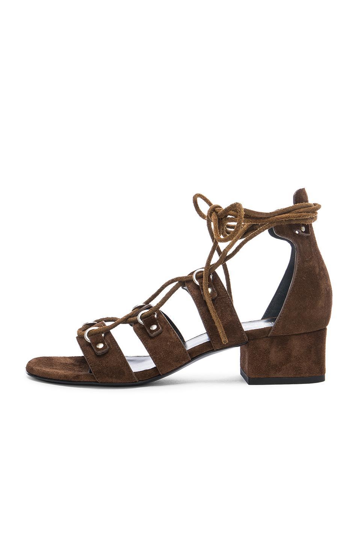 Lyst Saint Laurent Babies Suede Lace Up Sandals In Brown