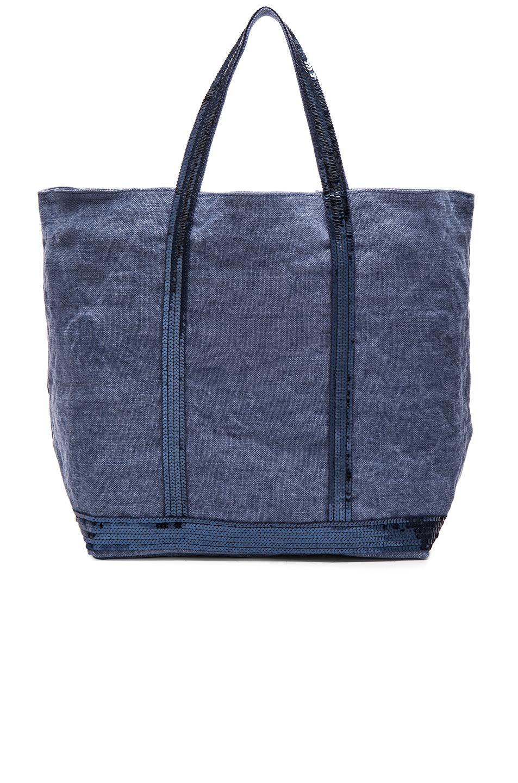 lyst vanessa bruno cabas medium embellished canvas shopper in blue. Black Bedroom Furniture Sets. Home Design Ideas